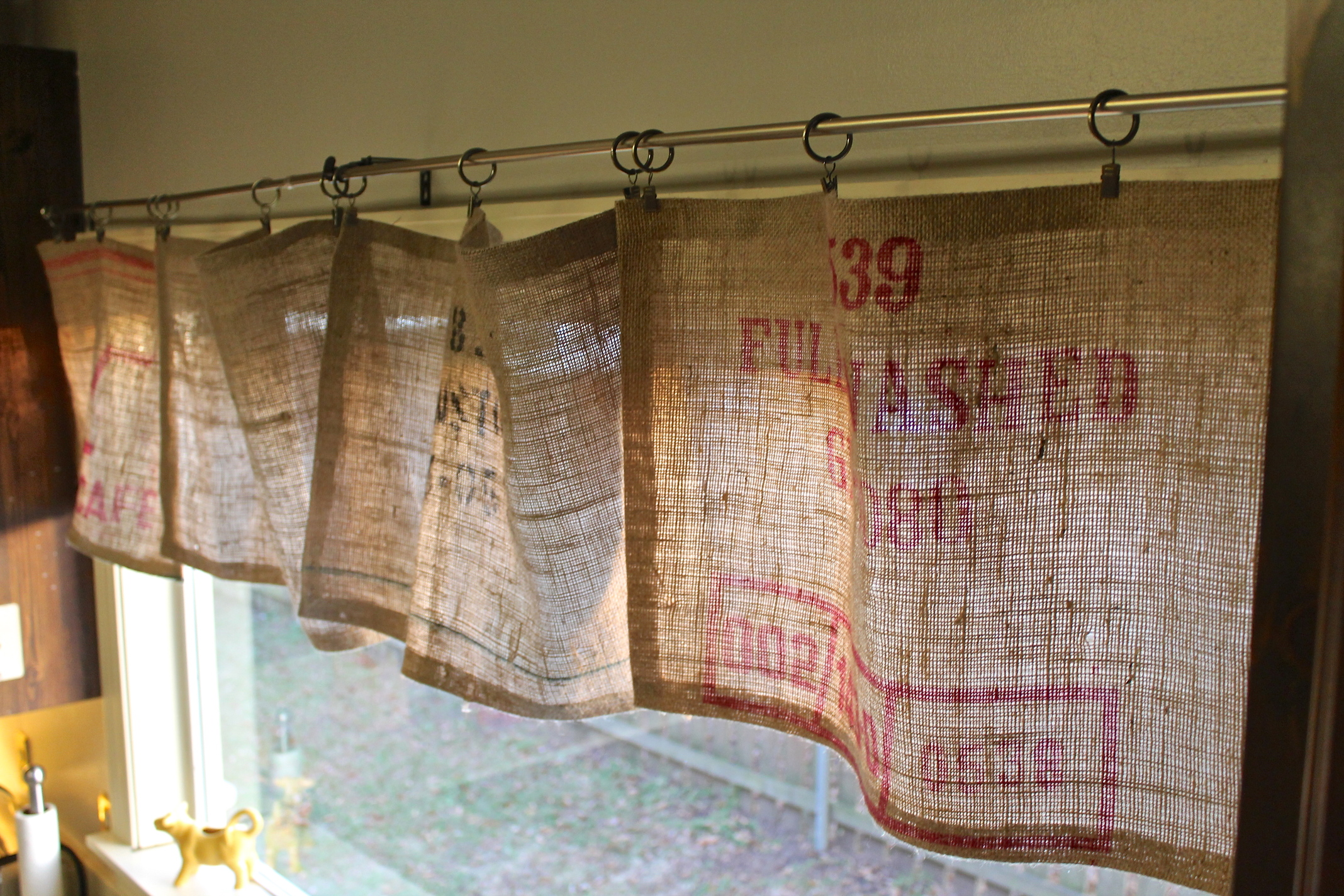 Kitchen Burlap Curtains