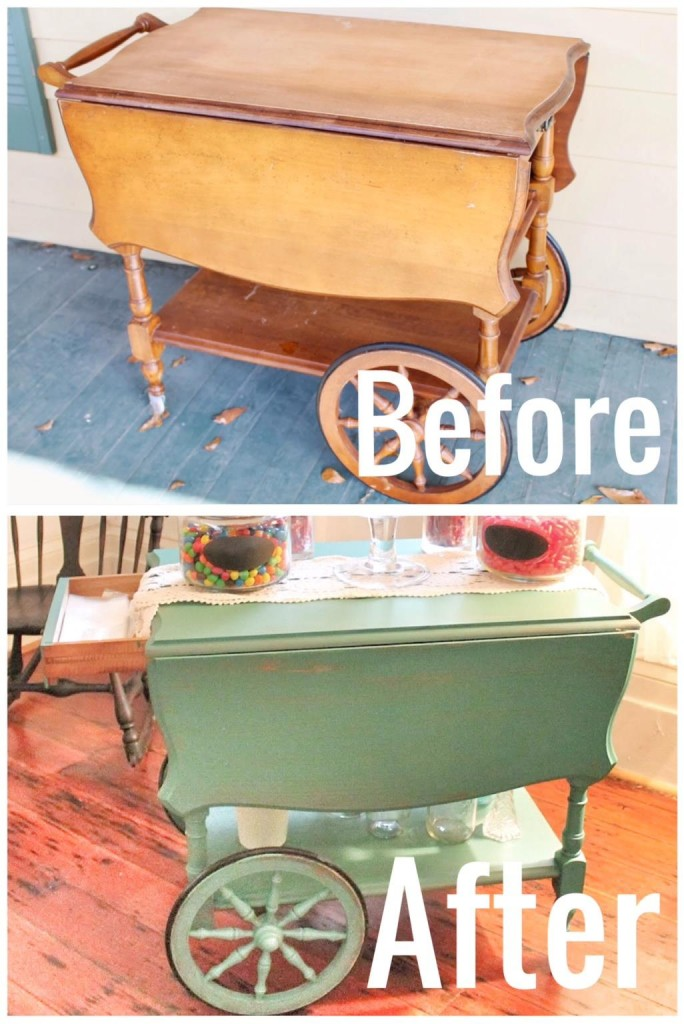 before and after: vintage tea cart, tea cart, vintage tea cart, painted tea cart, before and after, diy blog, the hollidays at home,