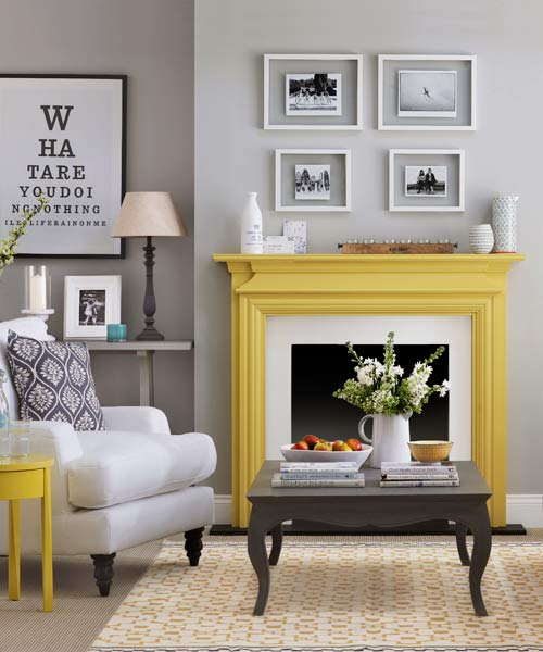 yellow mantel, painted mantel, yellow fireplace, painted fireplace