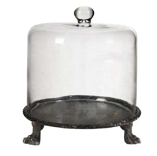 footed glass cloche