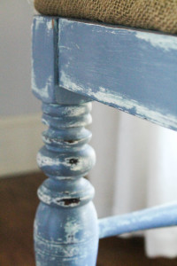 before and after coastal stool,before and after,painted furniture,painted stool,burlap seat upholstery,coastal painted piece,coastal painted furniture