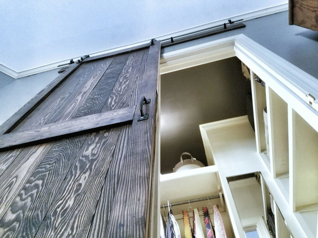 sliding barn door, barn door, build a door, build a barn door, sliding door, master closet, closet organizing