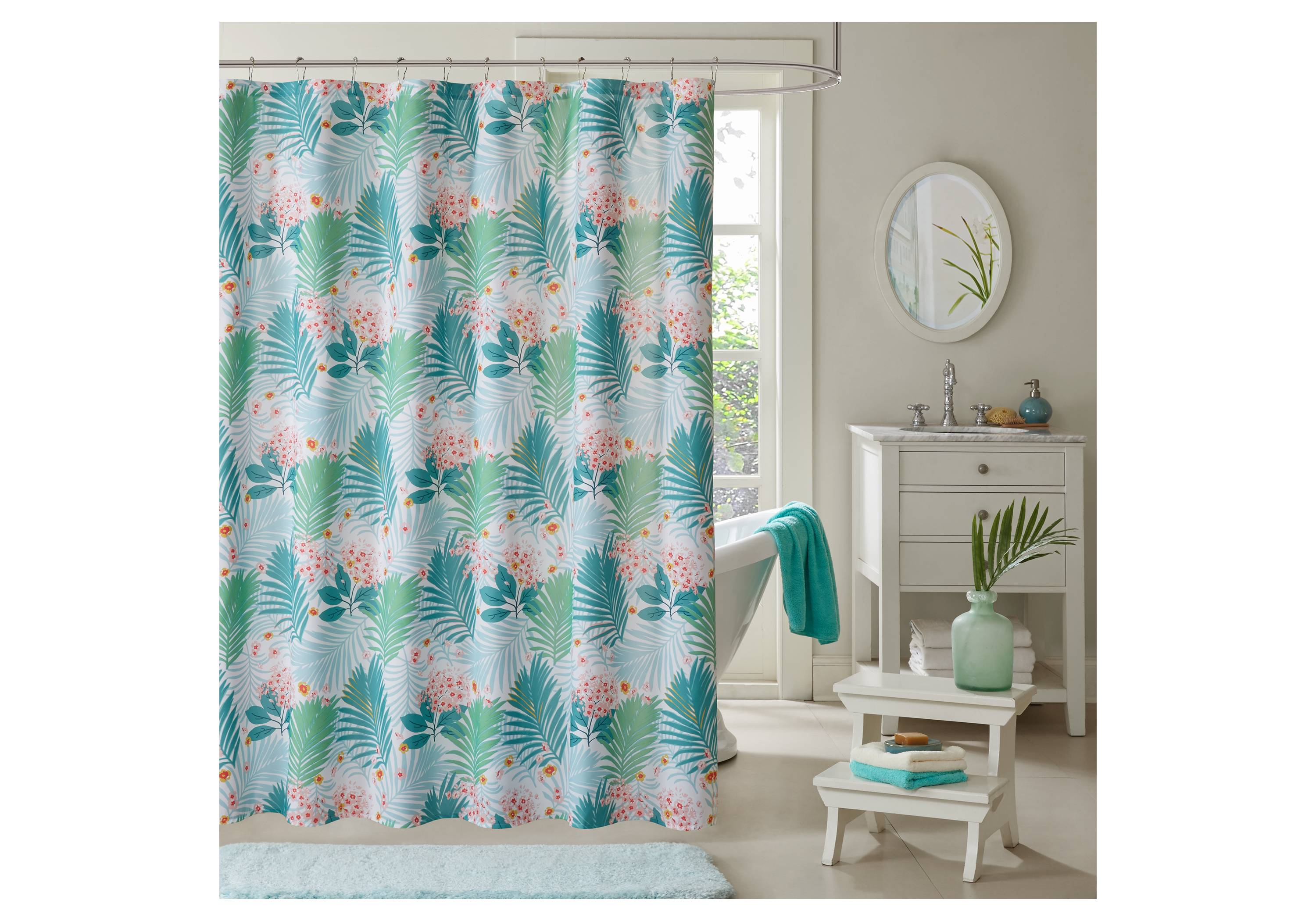 aqua printed shower curtain