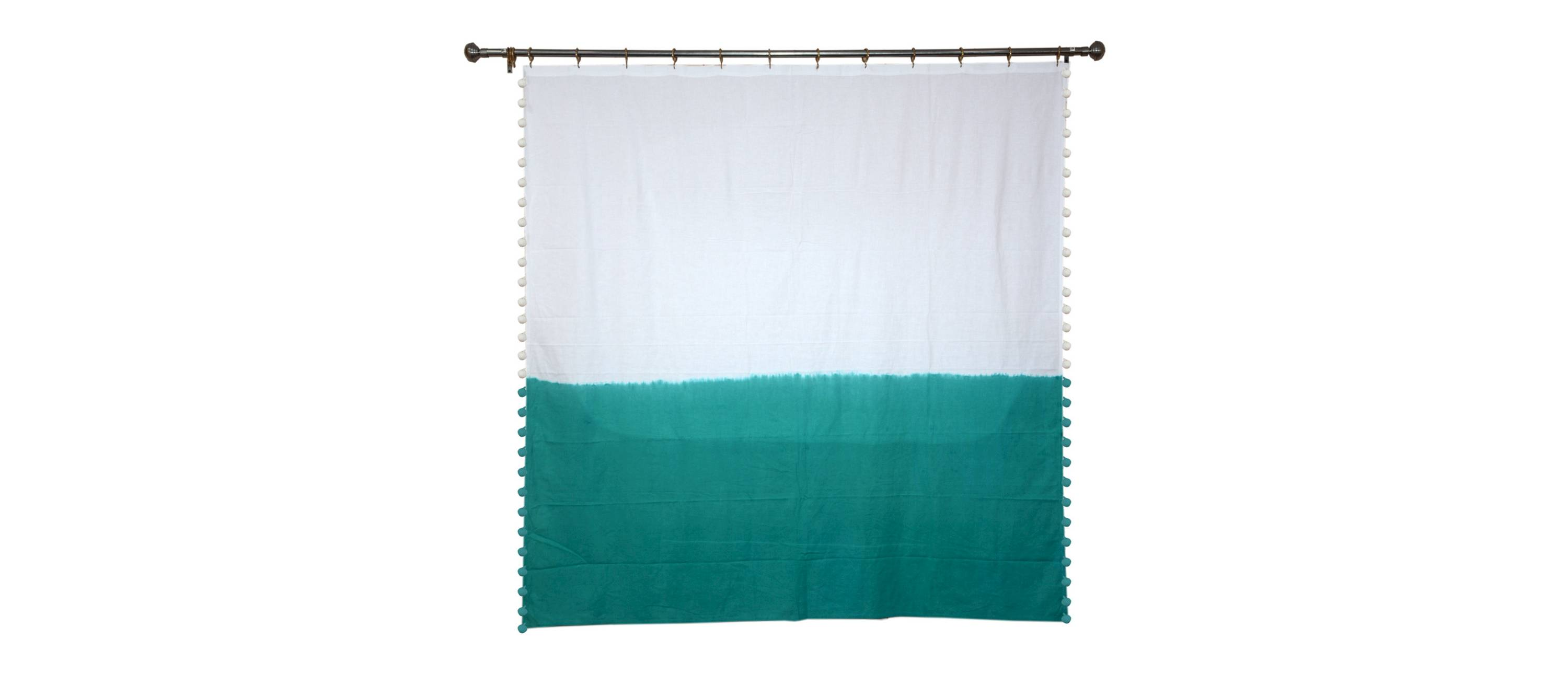 teal and white pom pom shower curtain