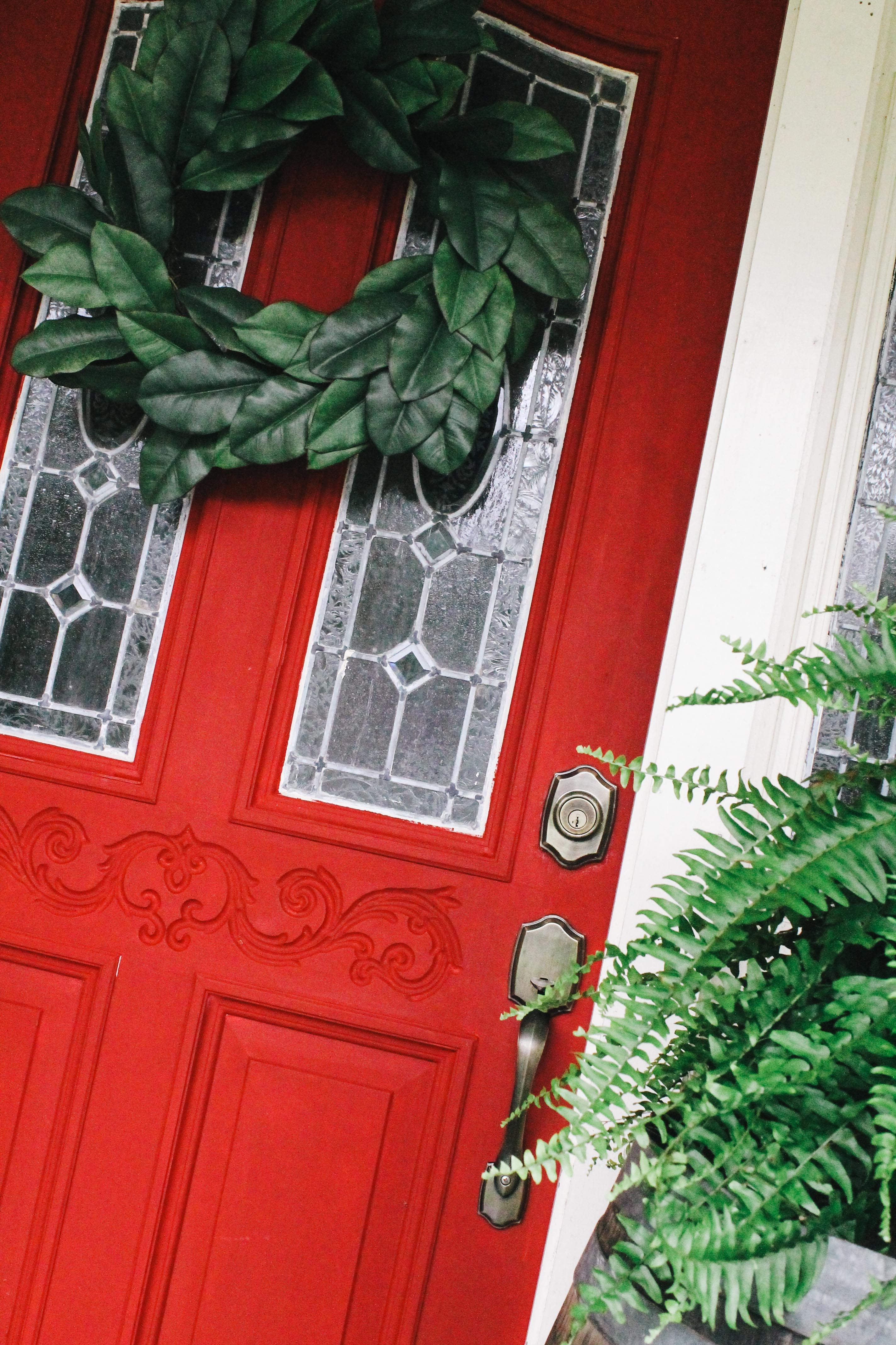 ascp, ascp emperor's silk, painted door, red front door, chalk paint exterior, chalk paint front door, annie sloan chalk paint,